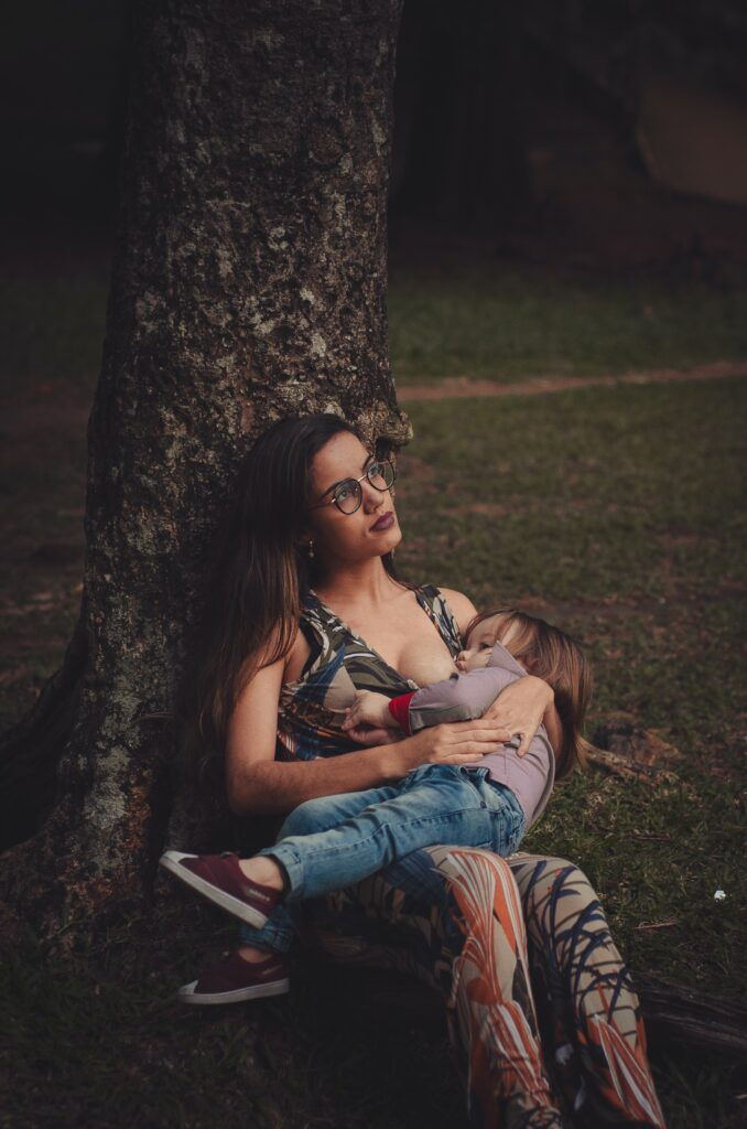 A breastfeeding baby in public.