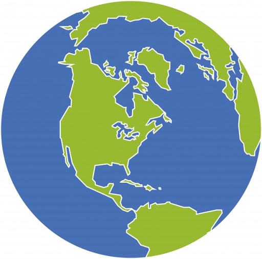 A graphic of the world globe.