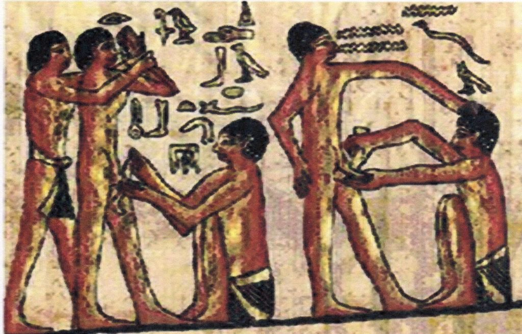 An ancient drawing of persons with their hands on another person's genitals.