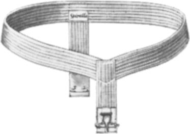 A metal belt that goes around the waist with washable pads.