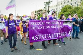 """A large group of people holding a banner with the asexuality flag and the words """"Asexual visibility & education network"""" written on it."""