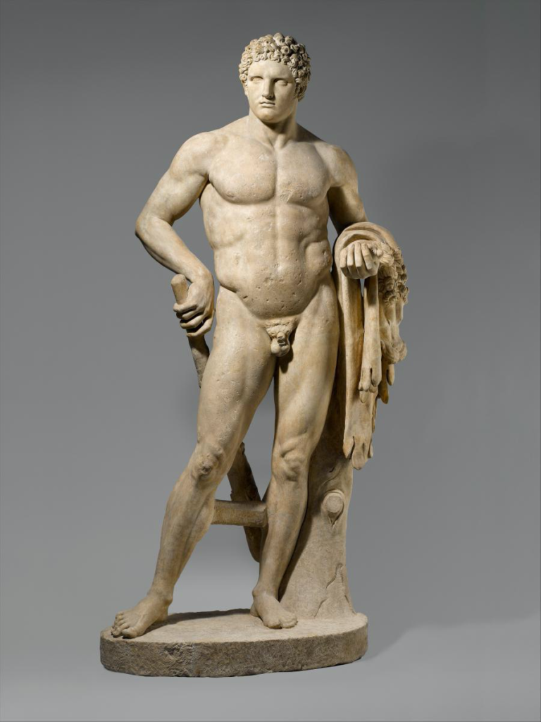 Naked statue of a man.