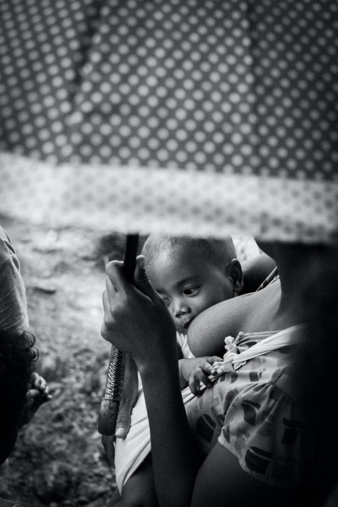 A breastfeeding baby.