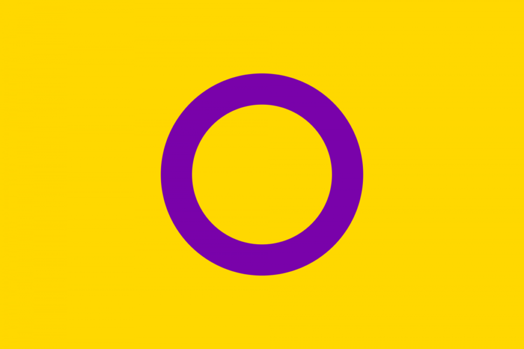 Yellow flag with a purple circle. The intersex flag.