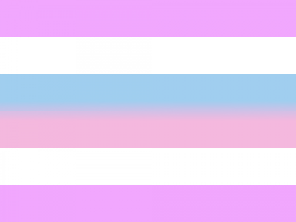 Purple, white, blue, and pink striped flag. The intersex flag.