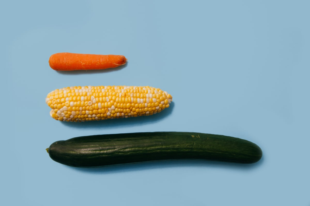 A carrot, corn, and cucumber that resemble a penis.