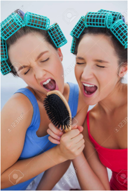 Two people using curlers and holding a hairbrush.