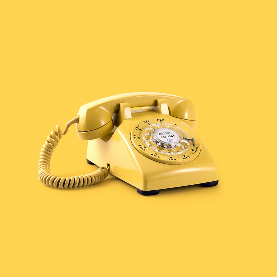 A yellow telephone.
