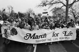 """A large group of people holding a banner that says """"March for Life Support the Life Principles."""""""