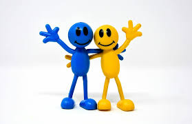 Yellow and blue smiley face figures waving with their hands.