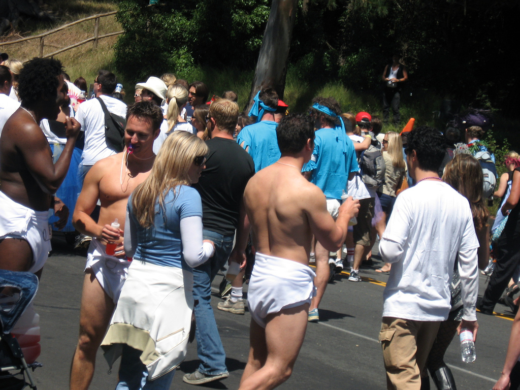 A group of adults wearing diapers.