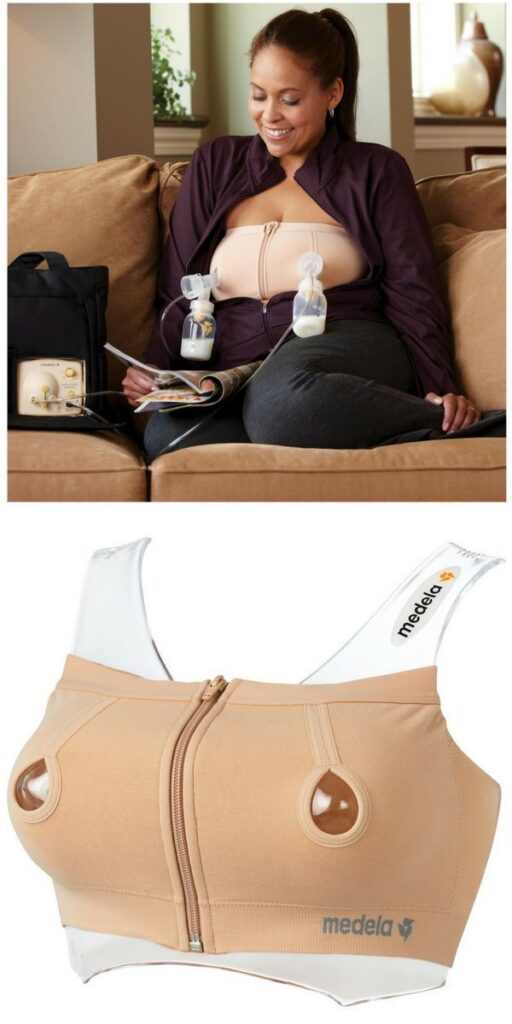 A double electric breast pump with pumping bra.