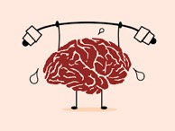 An animated brain lifting weights.