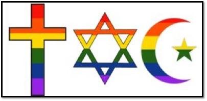 A rainbow cross, rainbow star of david, and rainbow crescent and star.