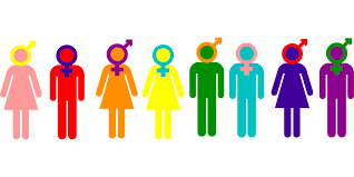 Colorful figures with various gender symbols