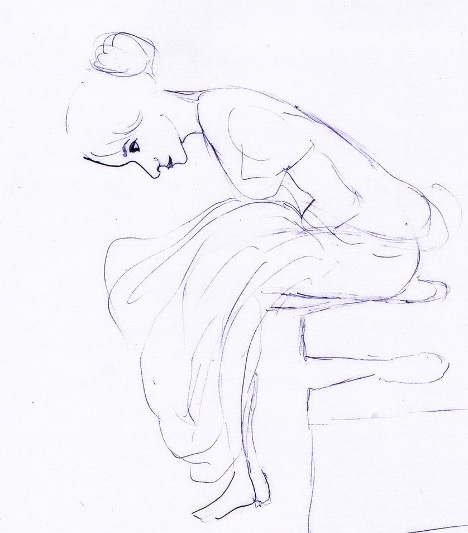 A sketch of a person sitting down and bending forward.