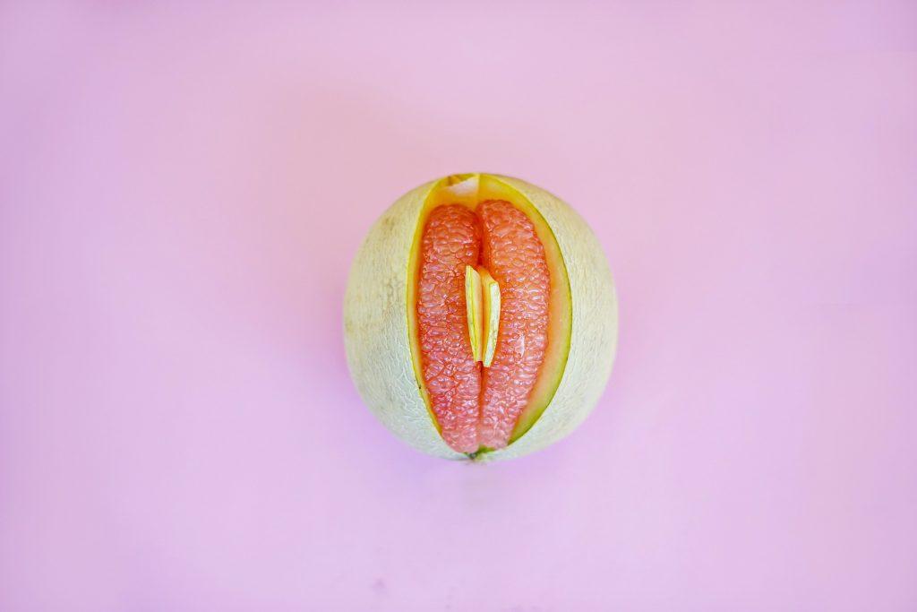 A melon that resembles a vulva and vagina.