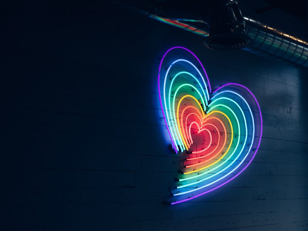 A heart in neon lights.