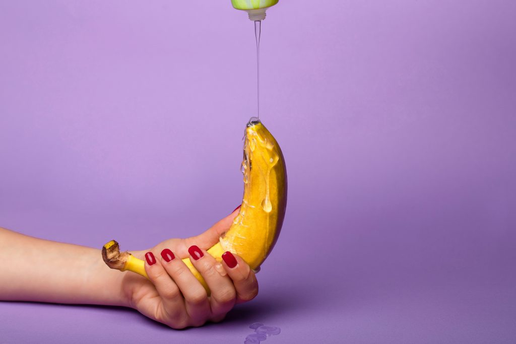 Lubricant dripping on a banana.