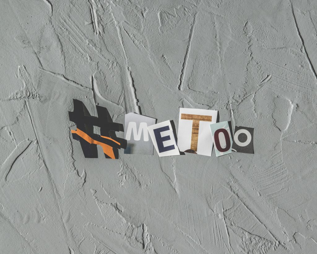 #METOO spelled put with cut-out paper.