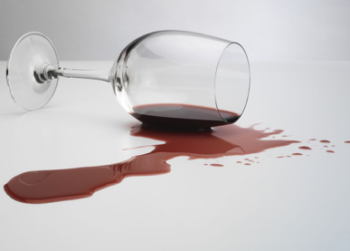 Spilled wine that is often used to engage in blood play.